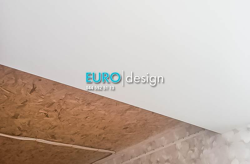 Установка матового двухуровневого натяжного потолка. фото 1