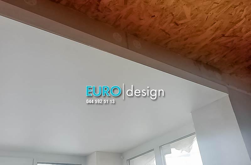 Установка матового двухуровневого натяжного потолка. фото 2